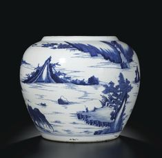 jar   sotheby's I A LARGE BLUE AND WHITE 'FIGURES IN LANDSCAPE' JAR QING DYNASTY, KANGXI PERIOD Estimate 180,000 — 250,000 HKD LOT SOLD. 250,000 HKD (Hammer Price with Buyer's Premium)
