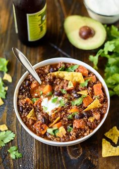 Slow Cooker Turkey Quinoa Chili with Sweet Potatoes and Black Beans