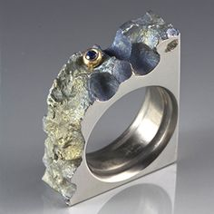 Earnestly Ring - Reclaimed Anodized Titanium, 10K Yellow Gold, Blue Sapphire by Stefan Alexanders