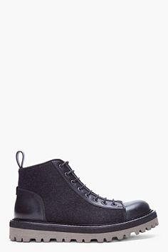 Yves Saint Laurent Black Flannel  Boots