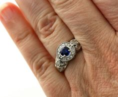 14K Blue Sapphire Ring Vintage Blue Sapphire by RareEarth on Etsy, $1302.00