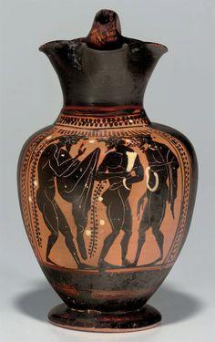 AN ATTIC BLACK-FIGURED OINOCHOE ATTRIBUTED TO THE PAINTER OF VILLA GIULIA G. 49, CIRCA 500-480 B.C.