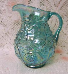 Gorgeous Fenton Carnival Irridescent Aqua Blue Glass Floral Lilys Pitcher RARE   eBay