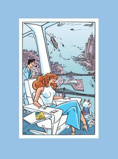 Omslagvignet Catawiki herdruk Franka 11. De enorme ATLANTIS stijgt op bij de gloednieuwe Pax Pier in de East River en draait over Brooklyn: Franka heeft uitzicht op de glorieuze 1957 skyline van zuid Manhattan.