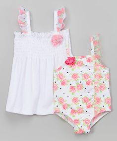 Loving this Pink Rose So Fancy One-Piece & Cover-Up - Infant, Toddler & Girls on #zulily! #zulilyfinds