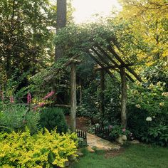 Rustic and Simple Arbor Ideas Sturdy Rustic Arbor----We are going to build this over our existing patio. We have a pergola that requires we replace the canvas awning every year or two. I like this natural look so much better! Garden Arbor, Garden Gates, Side Garden, Rustic Gardens, Outdoor Gardens, Garden Projects, Outdoor Projects, Landscape Design, Garden Design