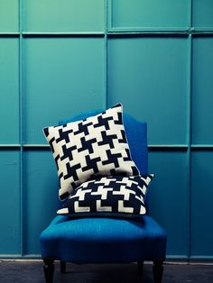 Wool appliqué and hand embroidered cushions by Barbara Coupe, photo Emma Lee, styling Twig Hutchinson