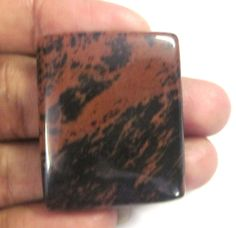 51Cts Semi Precious Natural Mahogany Obsidian 30x35mm Cushion Cab Loose Gemstone #GemsAndJewels