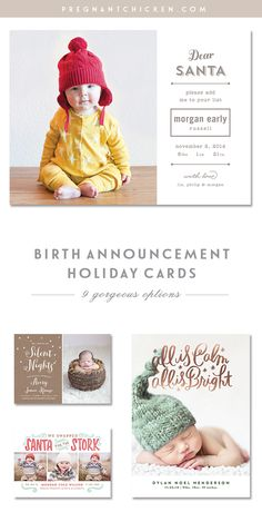 9 Birth Announcement Holiday Christmas Cards for baby girl or baby boy!