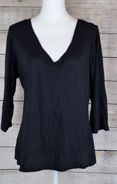 INC V-Neck Tee Blouse Top Shirt Pullover 3/4 Sleeve Solid Black Size X-Large XL #IncinternationalConcepts #TeeBlouseTopShirtPullover #Casual