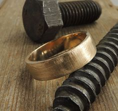 Recycled 14k Gold Mens Wedding Band Brushed by PointNoPointStudio, $735.00