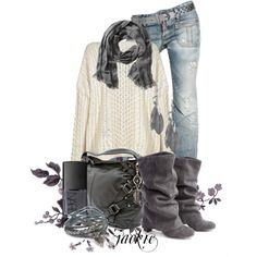 Chunky Sweater and Jeans, Polyvore