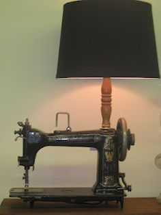Visit Sleepy Poet Antique Mall to Find everything you need to re-create this look! Sewing Machine Projects, Sewing Machine Tables, Treadle Sewing Machines, Antique Sewing Machines, Shabby Vintage, Vintage Sewing, Lamp Inspiration, Make A Lamp, Reclaimed Furniture