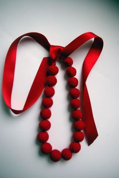 Felted Red necklace - makes a beautiful and sophisticated splash of holiday color!