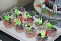 Running with Three Boys: Zombie Party Halloween Games For Kids, Halloween Food For Party, Holidays Halloween, Halloween Treats, Halloween Zombie, Zombie Birthday Parties, Birthday Ideas, 14th Birthday, Zombie Prom