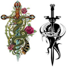 Sword Tattoos with Snakes