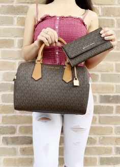 bd8a1707a922 Michael Kors Hayes Large Duffle Satchel Bag Brown MK Signature Wallet SET   MichaelKors  Satchel