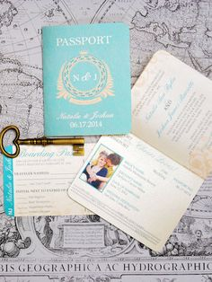 Passport Wedding Invitation Classic Style by PerfectlyInvited