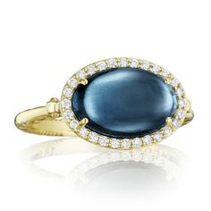 Tacori 18K925 18k Yellow Gold Tacori Golden Bay 12x8mm Oval Sky Blue Topaz Over Hematite Fashion Ring with Pave Diamond Halo and Milgrain Crescent Detail Diamond .18cttw