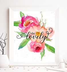 Isnt she lovely A beautiful nursery girl printable art in watercolor fresh and tender pink colors <3 Get your copy now >>>> Youll receive this digital item in HD (300dpi), 8x10 format! Ready to print- download is instant! WHY CHOOSE DIGITAL: 1. Easy, instant download of desired