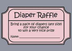 Baby Shower Diaper Raffle Tickets