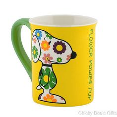 Peanuts Mug SNOOPY FLOWER POWER 4040295 16 oz Coffee Cup Department 56 NEW