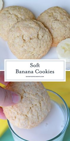 Soft Banana Cookies Recipe – Easy Overripe Bananas Recipe These Soft Banana Cookies will become your favorite thing to make with overripe bananas! They're soft, chewy and delicious – great with a glass of milk! Recipe Using Ripe Bananas, Recipes Using Bananas, Healthy Banana Recipes, Banana Dessert Recipes, Vanilla Recipes, Easy Cookie Recipes, Easy Desserts, Baking Recipes, Sweet Recipes