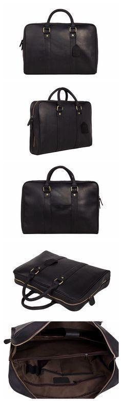 Black Genuine Leather Briefcase, Messenger Bag, Laptop Bag, Men's Handbag