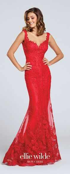Prom Dresses 2017 - Ellie Wilde for Mon Cheri -  sleeveless red lace prom dress with deep open back - Style No. EW117046