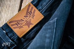 Hot printed leather label made in Italy by Panama Trimmings #denim #details #vintage #labeling