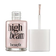 Benefit High Beam:  Luminizer.  I debated on spending the money on this for a couple of weeks.  Went for it.  It was worth it!  I use it when I want my skin to look fresh and dewy.  It's a perfect luminescence- not glittery at all- just adds a nice highlight wherever you want it.