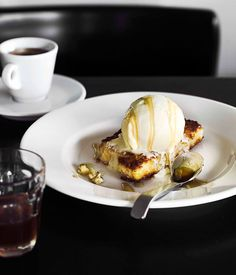 Australian Gourmet Traveller recipe for fried custard with vanilla ice-cream and honey by Rita Macali from Melbourne restaurant Supermaxi.