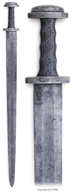 Merovingian sword from Finland. Pattern welded blade, crossguard & pommel of wrought iron, grip is of black oak. http://www.kp-art.fi/jt/miekat/03.html