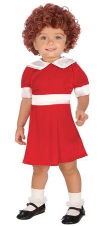 23.75  This cute Little Orphan Annie Costume includes the red and white knee length dress in toddler size. Add the red wig, sold separately, for the overall Annie look!