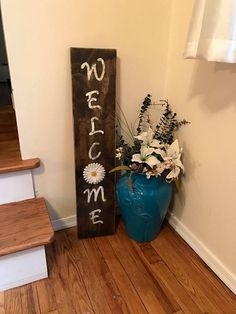 Wooden Welcome Sign; Vintage sign; Primitive wood sign; Door entry decor