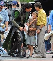 Backstage picture from the Avengers with Tom and Mark and Mark's kid.