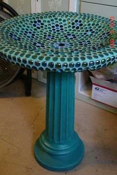 Mosaic Birdbath.  Repurpose the old ugly cracked birdbath into a decorative bath that your feathered friends would love.