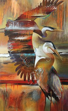 Abstract Modern Painting, Blue Heron - Artist Tim Parker