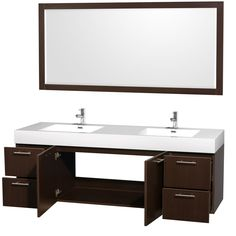 """Wyndham Collection WCR410072 Amare 72"""" Wall-Mounted Double Vanity Set with Integrated Sinks - Vanity Top Included"""