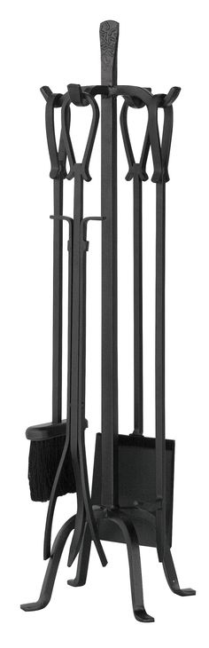 """Features:  -Fish style loop handles.  -Old world iron.  Product Type: -Fireplace tool.  Finish: -Old world iron.  Material: -Iron. Dimensions:  Overall Height - Top to Bottom: -32"""".  Overall Width - S"""