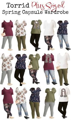 Torrid is one of my favorite places to shop. It has great options for large sized women that are trendy, modern, and not stodgy. We've gathered some of our favorite pieces for Spring and put together a mix and match capsule wardrobe for plus sizes Mom Outfits, Outfits For Teens, Plus Size Outfits, Cute Outfits, Fashion Outfits, Plus Size Fashion For Women, Plus Size Women, Plus Size Capsule Wardrobe, Curvy Fashion