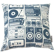 Analogue Nights Cushion in Dark Denim