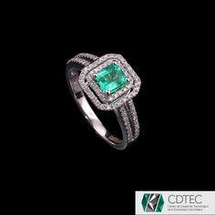 RRV $3,235 - 9ct W.G, 0.85ct Colombian Emerald & Diamond Dress Ring