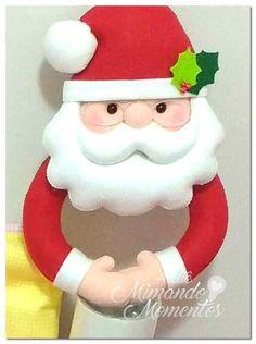 porta-panos-navideno-de-cocina-de-santa-claus2 Christmas Crafts To Make, Christmas Projects, Christmas Holidays, Christmas Gifts, Christmas Decorations, Christmas Ornaments, Holiday Decor, Felt Crafts, Diy Crafts