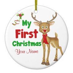 Babys First Christmas Reindeer Ceramic Personalized Ornament