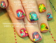 colorful heart and lip print nail art tutorial that doesnt teach too much robin moses design 660 Kiss Nails, Heart Nails, Fun Nails, Yellow Nails, Green Nails, Nails Turquoise, Robin Moses, Valentine Nail Art, Valentines