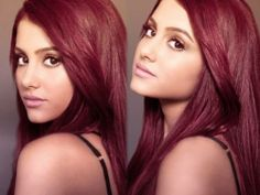 Ariana Grande maroon hair color ... Love her new song ~ The Way ...she really does sound like Mariah ...