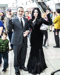 LOVE her dress! Inspiration for Morticia and Gomez Addams! Morticia: Me (Kitty Krell) Gomez: Jim Butcher Photo: K3 Images Taken at Denver Comic Con.