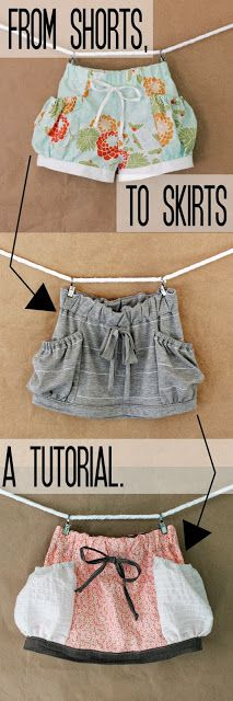 e and e bubble shorts pattern into a skirt!  i seam stressed: Woven Skirt Flip + Tutorial