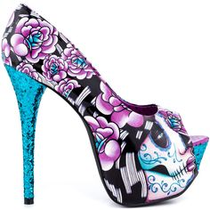 Get wild in the Too Fast SHMG Muerta.  This flashy pump features a bright multi color synthetic upper featuring a vibrant and unique print.  Adding an extra zest is a 2 inch platform and blue glitter covered 6 inch heel.